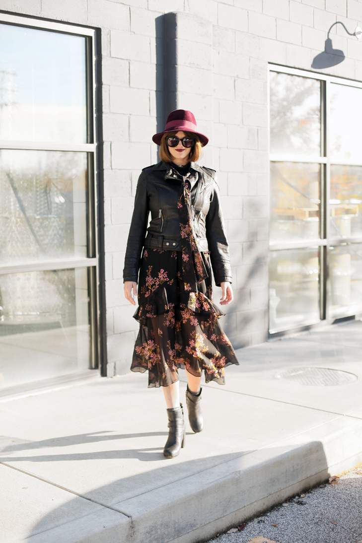 Who What Wear winter dress, black chiffon, leather jacket, hat