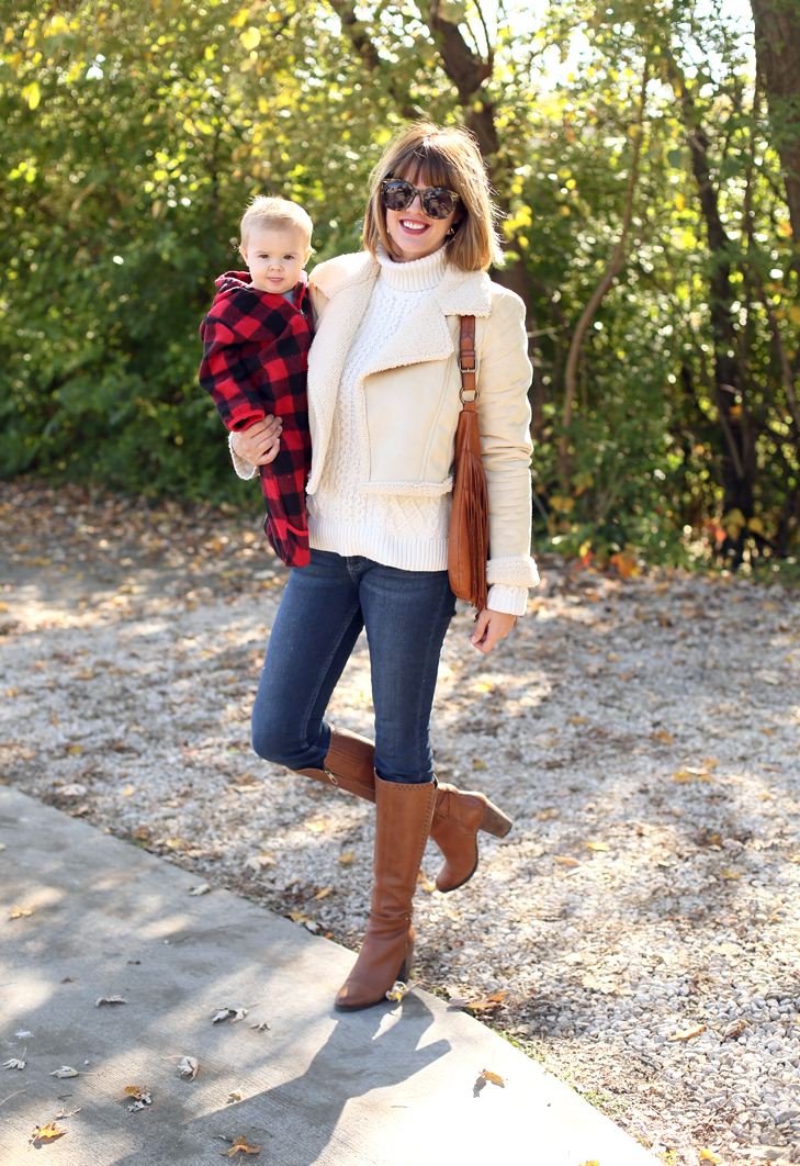 Shearling Jacket, SAHM outfit