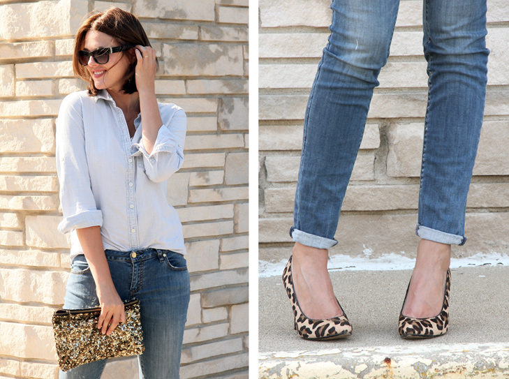 How to dress up denim, Leopard pumps with denim, Fall Outfit Idea, jessica Quirk, Fashion Blogger