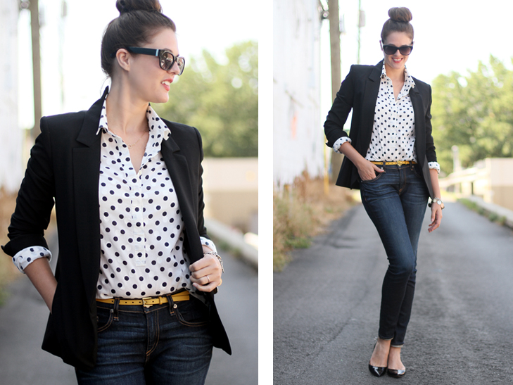 What I Wore, Jessica Quirk, What i Wore Today, Outfit of the Day, Daily outfit, Personal Style Blog, Style Blog, Outfit Blog, J.Crew, Theyskens' Theory, Rag and Bone, Top Knot, Polka Dot, Business Casual, Bloomington IN, Midwestern Style
