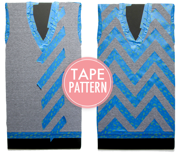 DIY, Chevron Tee Shirt, How to paint chevrons with painter's tape, Painter's Tape Projects for Clothes, What I Wore DIY, What I Wore, Jessica Quirk, Scotch Blue Painter's Tape,