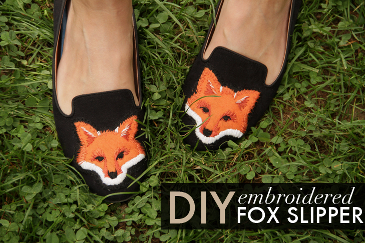 DIY fox slippers, embroidered fox slippers, fox face slippers, what i wore, @whatiwore, Jessica Quirk, DIY