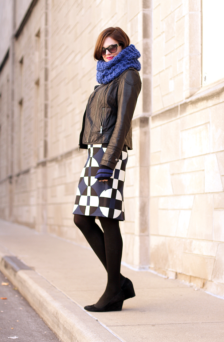 Jessica Quirk, What I Wore, What I Wore Jessica, Cobalt, How to wear blue, What colors go with Cobalt, Michael Kors, J.Crew, JCrew, Stripes, Pattern Mixing, geometric style, geometric skirt, how to style a geometric print, winter aztec prints, cobalt blue, winter cobalt blue, leather moto jacket