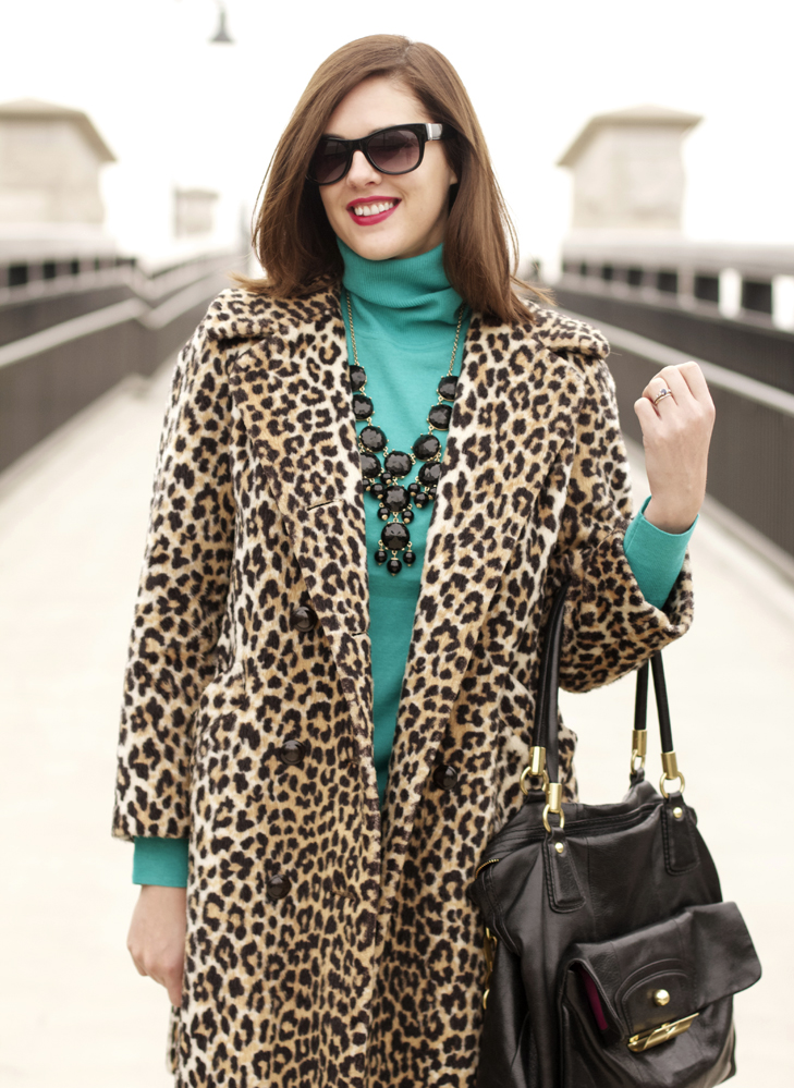 Jessica Quirk, What i Wore, What I Wore blog, Jessica Quirk Blog, What I Wore Jessica, Funny Face NARS, J.Crew, Vintage leopard coat, Vintage modern, leopard coat, vintage leopard, turquoise and leopard
