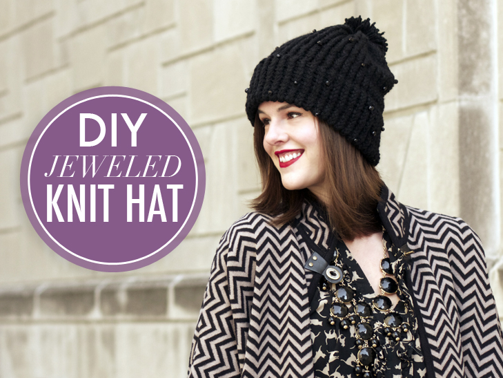 Jessica Quirk DIY, DIY knit hat, jeweled knit hat, How to use a Knifty Knitter, Knifty Knitter, What i Wore, What I Wore blog, What I Wore DIY,