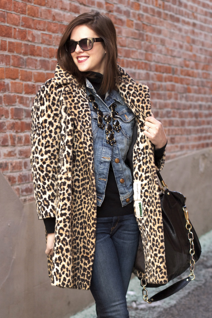 Winter Layering, How to wear Leopard, Denim on Denim, Fashion Blogger, Jessica Quirk, What I Wore, What I Wore Today, What I Wore Jessica, J.Crew Bubble Necklace, Mavi Jean Jacket, Rag and Bone Jeans,