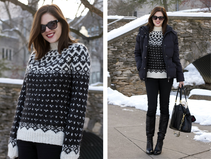 Winter Outfit, Jessica Quirk, What I Wore blog, What I Wore Jessica, What I Wore Today, Lopapeysa sweater, Fairisle sweater, How to look cute in winter, Coach, Mavi, NARS
