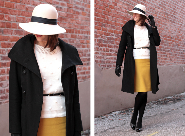 How to wear a hat, What to wear with a floppy hat, 1930s inspired style, Upstairs Downstairs, What I Wore, @whatiwore, Fashion Blog, Fashion Blogger, Gorrin Bros, Madewell, J.Crew, How to wear yellow in winter, Styling a yellow skirt, vintage modern, style blog, style blogger, fashion blog on tumblr, top fashion blog
