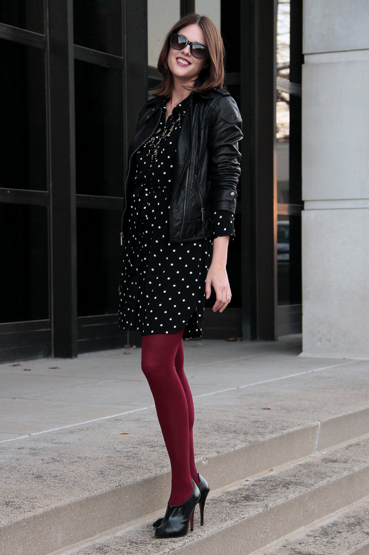 Fashion Blog, Fashion Blogger, How to Wear polka dots, How to wear a moto jacket, @whatiwore, What I Wore, What I Wore blog, What I Wore today, Jessica Quirk, Madewell Polka Dot Dress, Michael Kors Leather Jacket, Zara Booties, We Love Colors Maroon Tights, The Rail Bloomington, Date Night, how to wear polka dots, polka dots and tights, moto jacket, how to wear a moto jacket, jessica quirk style, what I wore rewind, downtown style, city girl style