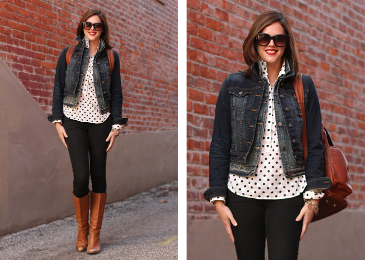 How to wear denim on denim, polka dots, how to wear black and brown, Jessica Quirk, What I Wore, What I Wore Jessica, What I Wore blog, What I Wore tumblr, @whatiwore, fashion blog, fashion blogger, fashion blog on tumblr