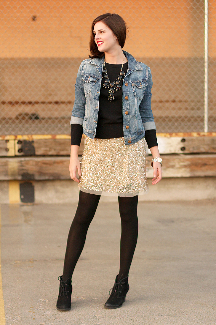 Jessica Quirk, Fashion Blogger, Personal Style Blogger, How to Style Sequins, How to dress up a jean jacket, how to dress up a denim jacket, J.Crew bubble necklace, NARS red lizard, What I Wore Jessica, @whatiwore