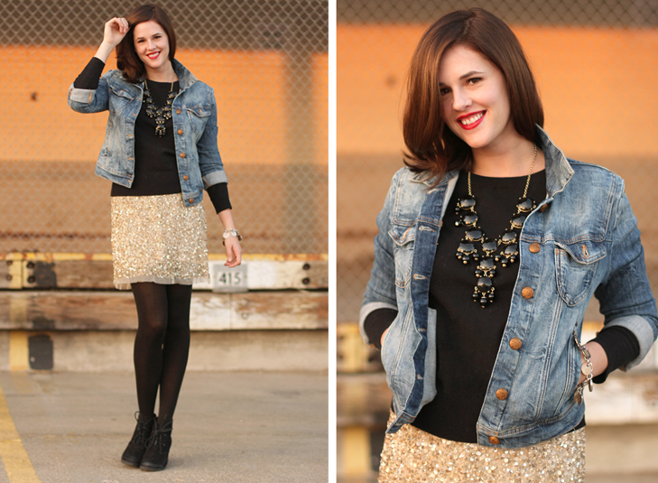 Jessica Quirk, Fashion Blogger, Personal Style Blogger, How to Style Sequins, How to dress up a jean jacket, how to dress up a denim jacket, J.Crew bubble necklace, NARS red lizard, What I Wore Jessica