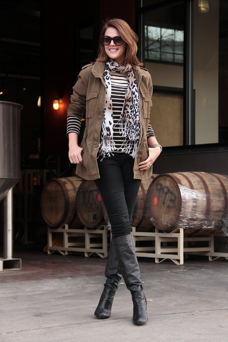 Fashion Blog, Fashion Blogger, Jessica Quirk, What I Wore, Army Jacket, How to mix leopard and stripe, What to wear to a brewery, @whatiwore, Style Blogger, Olive, Stripe, Leopard, Black, Great Divide Brewing Company, Denver, Colorado