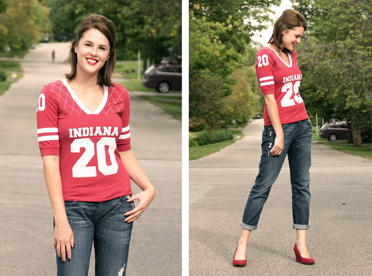 Fashion Blog, Personal Style Blog, What to Wear to a football game, Tailgate Outfit, What I Wore, @whatiwore, Jessica Quirk, Indiana University outfit, Indiana, Hoosiers Outfit, Women's football top, IU,