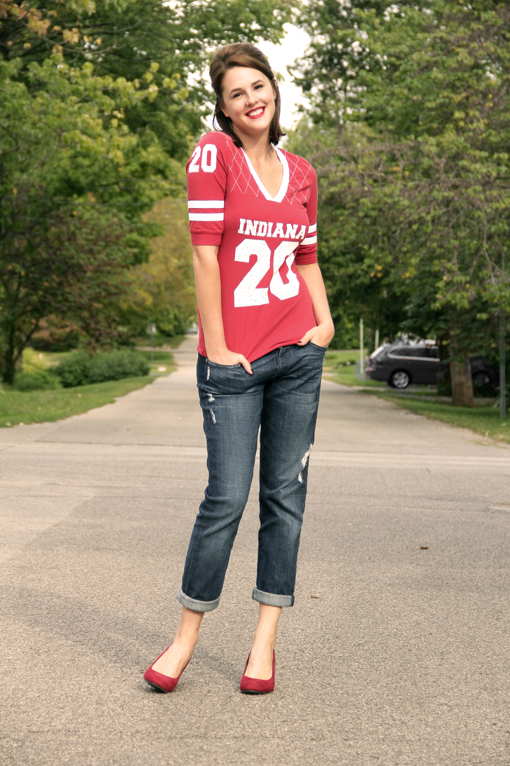 Fashion Blog, Personal Style Blog, What to Wear to a football game, Tailgate Outfit, What I Wore, @whatiwore, Jessica Quirk, Indiana University outfit, Indiana, Hoosiers Outfit, Women's football top, IU, tailgaiting style, tailgate, college football fashion, how to dress for football, women football syle, indiana university style, jessica quirk, hoosier football