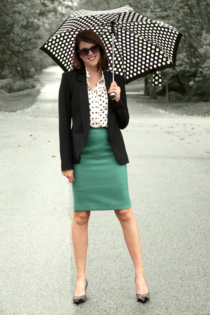 Fashion Blog, Personal Style Blog, Style Blog, Outfit Blog, @whatiwore, What I Wore, Jessica Quirk, Polka Dots, Polka Dot Umbrella, How to wear polka dots, Business attire, Indiana University Collage of Arts and Sciences Young Alumni Guest Lecturer, dress for success, how to dress business professional, business professional, adding color, how to wear polka dots, rainy day look, bloomington style, how to pair teal and polka dots, jessica quirk style, what I wore rewind