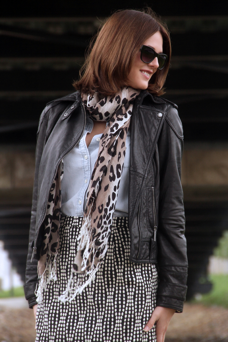 Fashion Blog, Indiana Blogger, Fashion Blogger in Indiana, Personal Style Blogger, Jessica Quirk, @whatiwore, What I Wore, What I Wore Today, Leather moto jacket, Leopard Scarf, What to wear with a leopard scarf, how to wear a leopard scarf, moto jacket and leopard, jessica quirk style