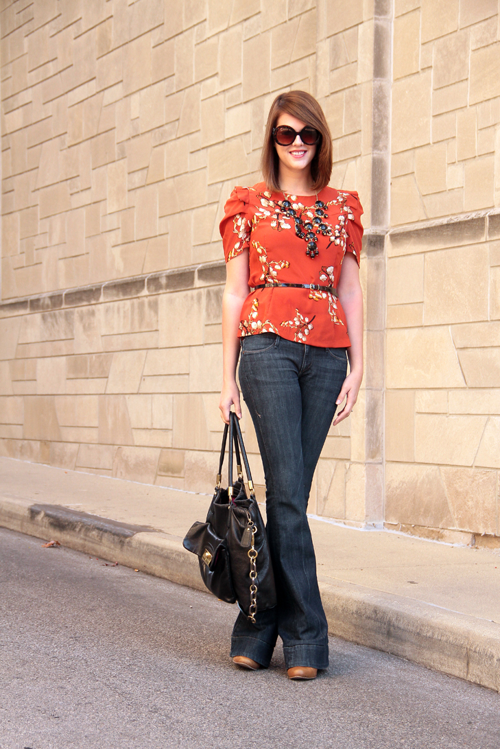 What to wear with an orange top, Fashion Blog, Fashion Blogger, Style Blog, Style Blogger, How to wear flare jeans, What shoes to wear with flare jeans, rust orange, Jessica Quirk, What I Wore, @whatiwore, Personal Style Blogger, Fashion Blogger on Tumblr, Outfit Blog, Outfits Blog, Bloomington Indiana Blogger, Midwest Blogger, Indiana Blogger