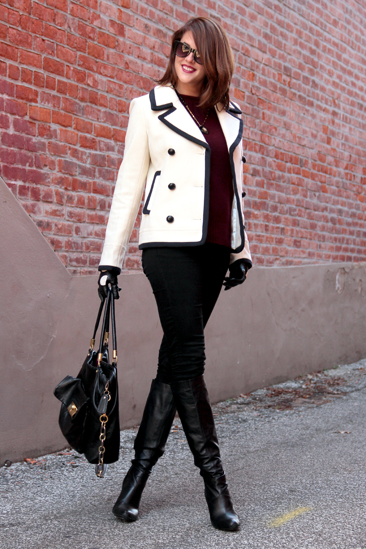 Fashion Blog, Fashion Blogger, Personal Style Blogger, Personal Style Blog, Outfit of the Day, Daily Outfit, What i Wore, Fashion blog on tumblr, J.Crew tipped Peacoat, J.Crew Cashmere Collection Sweater, Corvis Noir necklace, Black Mavi Jeans, Modern Vintage Boots, Coach Kristin Bag, Jessica Quirk, Chic Winter Outfit, Bloomington Indiana, city girl chic, burgundy fall inspiration, how to wear fall gloves