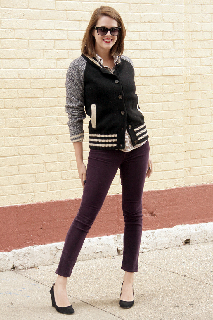 Purple Cords, Varsity Sweater, @whatiwore, What I Wore, Jessica Quirk, Indiana Style, Hoosier Style, Midwest Style, Style Blogger, Fashion Blogger, OOTD, WIWT, Varsity jacket, how to wear a varsity jacket, plum jeans, how to wear plum jeans, what I wore rewind
