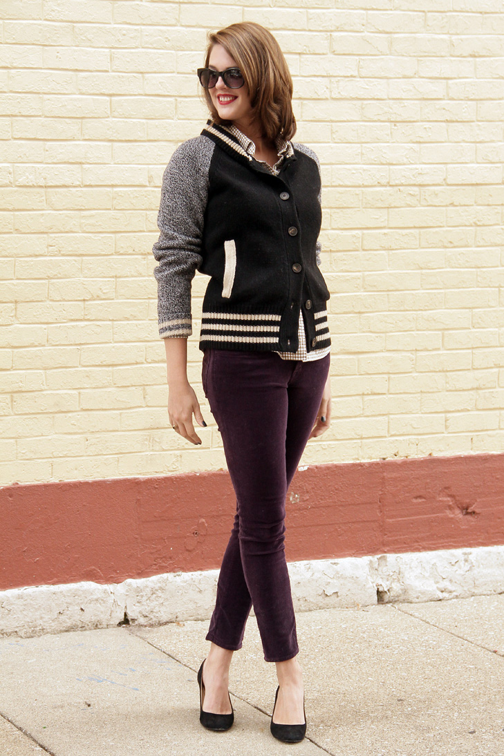 Purple Cords, Varsity Sweater, @whatiwore, What I Wore, Jessica Quirk, Indiana Style, Hoosier Style, Midwest Style, Style Blogger, Fashion Blogger, OOTD, WIWT,