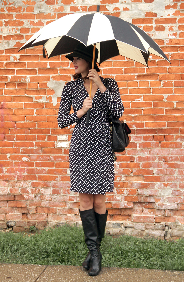 Rainy Day outfit, What to wear in the rain, Umbrella, Cute umbrella, Black and White umbrella, Diane von Furstenberg wrap dress, Jeannie dress, Jessica Quirk, Black and White Outfit, @whatiwore, What I Wore, Whatiwore, What I Wore Blog, Fashion Blog, Style Blog, Personal Style Blog, Outfit Blog, WIWT, OOTD, Midwest Style, Bloomington IN, Indiana Fashion
