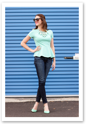 Mint Peplum on What i Wore