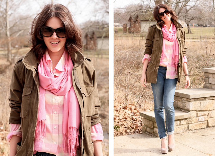 Large gingham, j.crew pink shirt, how to wear bright pink, springy winter outfits