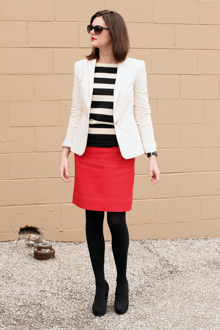 Love this red mini, black tights, white shirt and black suit jacket. Go for a leopard print blouse tucked in high-waisted pencil bottom. White long-sleeve red striped top looks fantastic tucked in a maxi skirt.