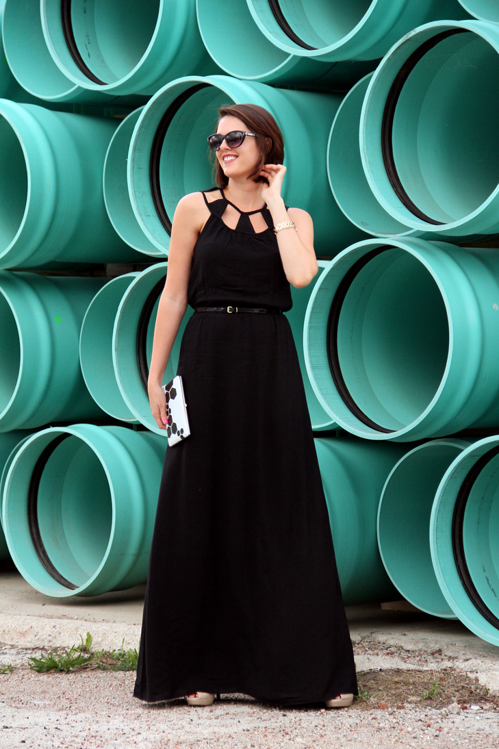 Black dress on tumblr - Tinley Road Maxi Dress Vince Camuto Nude Wedges Piperlime Outfit Blog Outfits