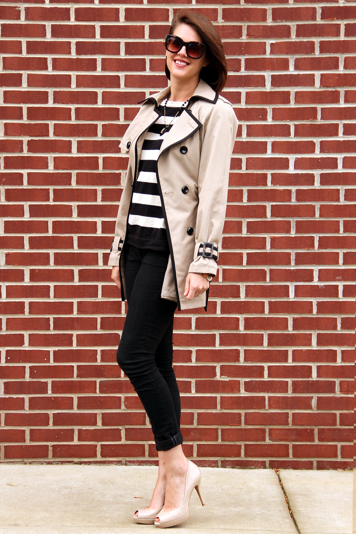 How to wear stripes, French stripes, Contrast Trim Trench, Stripes, Stripe Week on What I Wore, Jessica Quirk, Style Blog, Fashion Blog on Tumblr, Style Blogs, Outfit Blogs,