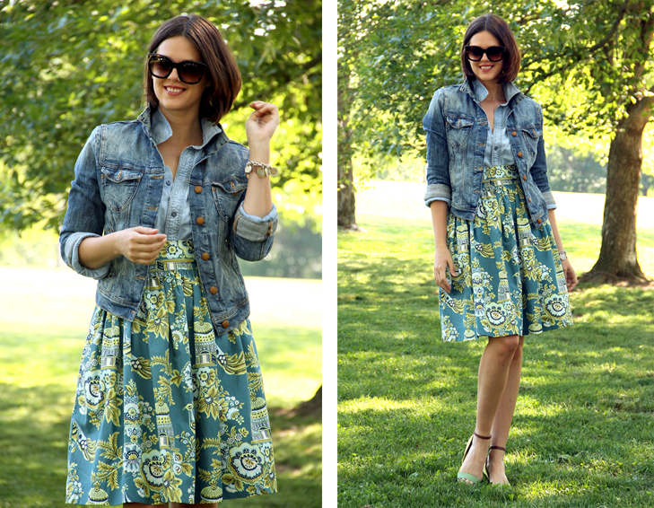Jessica Quirk, Outfit Blog, Style Blog, What I Wore, Self Made Skirt, Chambray, Amy Butler Fabric, Then and Now