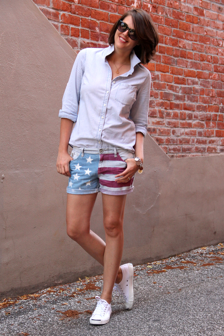 American Flag Shorts, Chambray, Jack Purcells, Converse, Coin Charm Bracelet, Americana, All American, Jessica Quirk, What i Wore, style blog, outfit blog, fashion blog, DIY