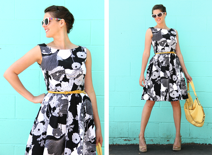 Simplicity 2444, Sewing, Self Made, Black and White Dress, Self Made Sunglasses, Yellow accessories, Jessica Quirk, What I Wore, Style Blog, Outfit Blog, Personal Style Blog