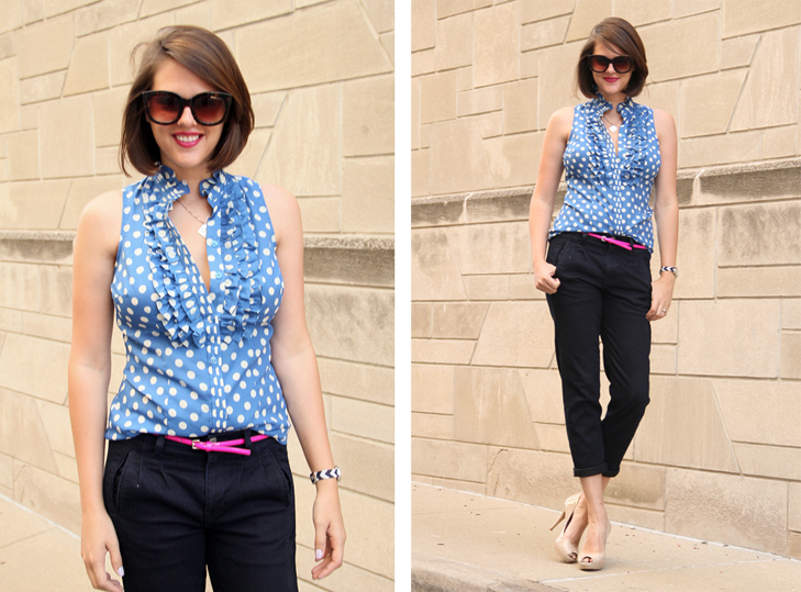 What I Wore, What I Wore Blog, Jessica Quirk, How to wear polka dots, pink neon belt, Q Scrabble Necklace, NARS Funny Face, Nude Heels