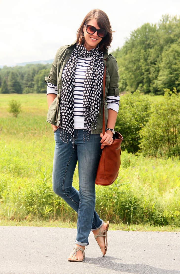Jessica Quirk, What I Wore, What I Wore in Vermont, Travel Outfit, Stripe Tee Shirt, St. James, Tory Burch Jeans, Army Green Jacket, Style Blog, Outfit Blog