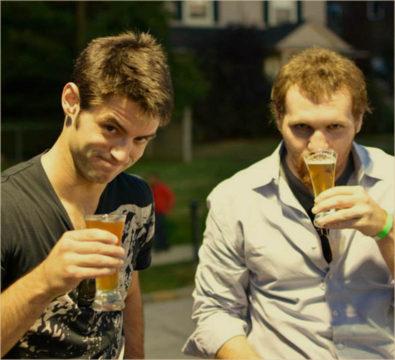 Enjoying the beer