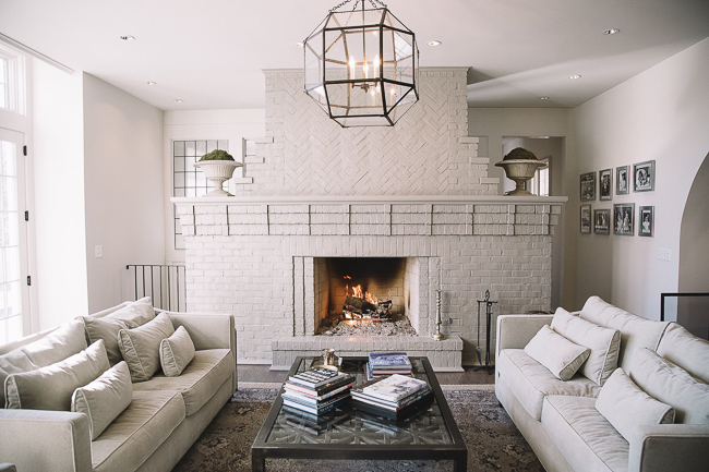 White Brick Fireplace in Living Room
