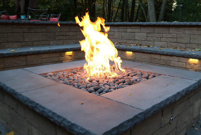 Custom Square Fire Pit with a Crossfire Burner