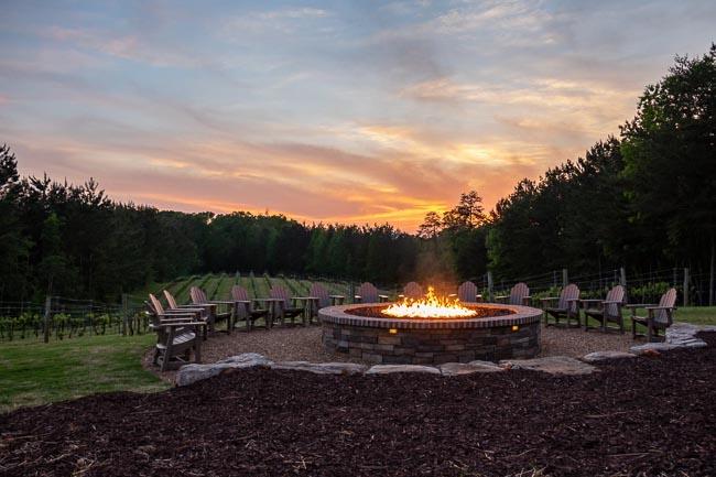 Fire pit burning at dusk