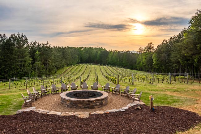 Unlit masonry fire pit in front of a vineyard at sunset