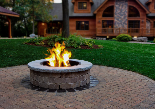 Masonry Fire Pit with Steel Insert