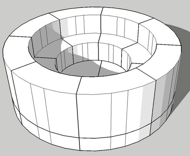 Digital rendering of a round fire pit kit