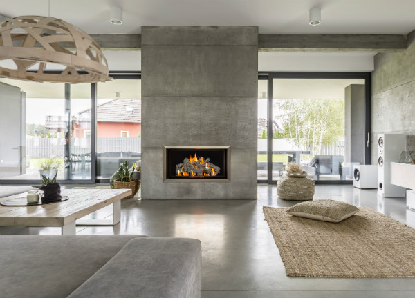 Modern Fireplace with Grand Canyon Gas Logs