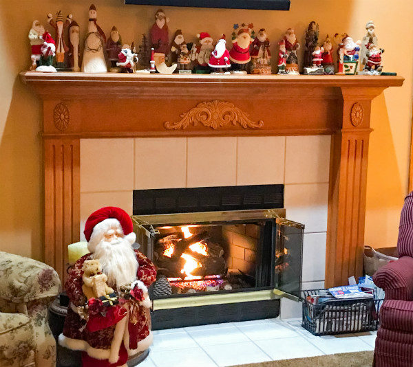 Christmas Mantel with Santas