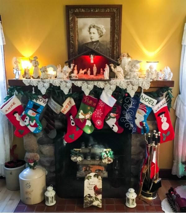 Christmas Mantel with Nativity Scene