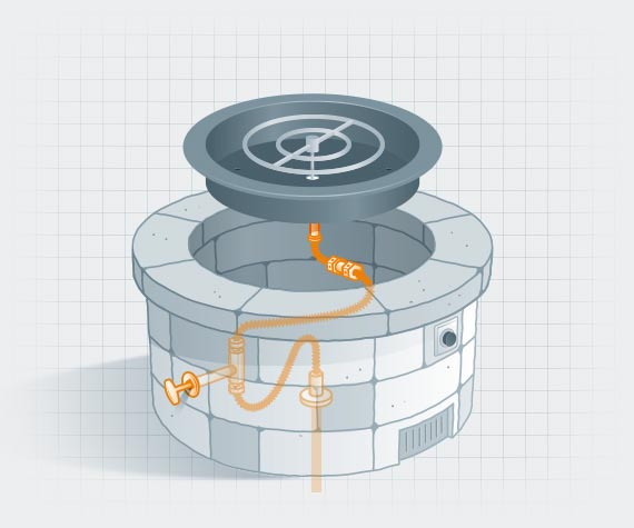 Illustration of fire pit with piping highlighted in orange