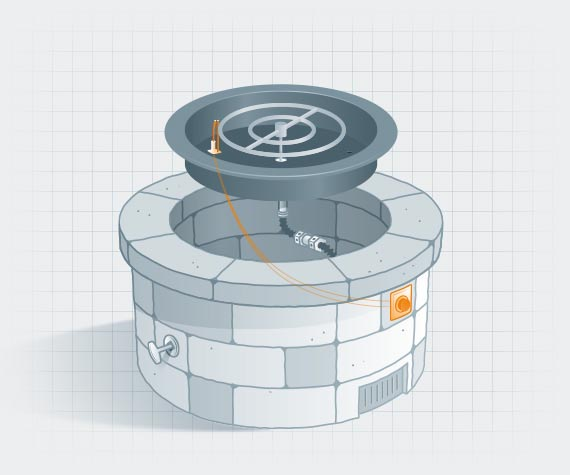 Illustration of fire pit with ignition components highlighted in orange