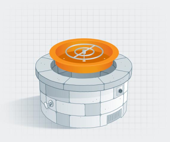 Illustration of fire pit with the burner highlighted in orange