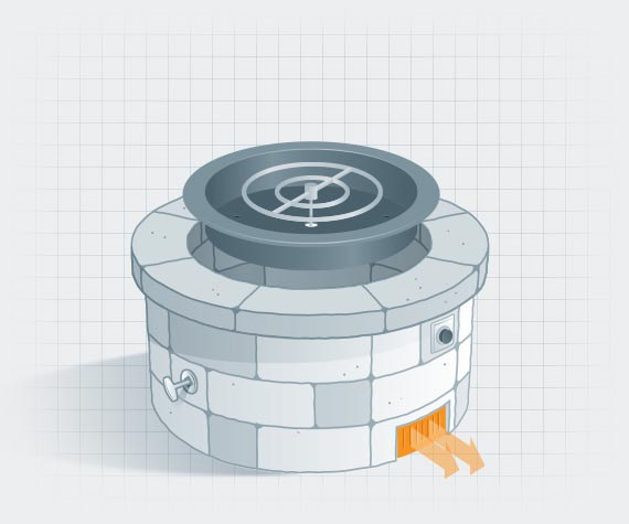 Illustration of fire pit with vents highlighted in orange